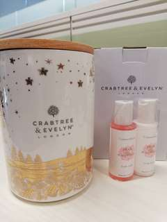Crabtree & Evelyn Cookies Container + Body Wash & Lotion