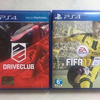 BD / KASET PS4 Fifa17 / fifa 17 & Driveclub