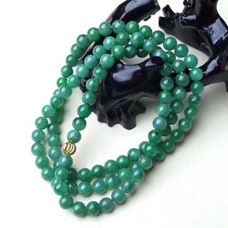 缅甸天然翡翠A货 水润 满绿项链