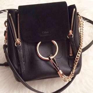 Chloe Faye backpack mini in black Chanel Gucci lv fendi givenchy Saint Laurent celine
