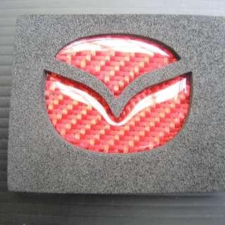 【翌迪】碳纖維部品 MAZDA / NEW MAZDA 3 2014+ (紅) 碳纖維 方向盤 貼片