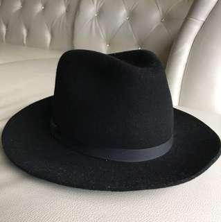 New York Hatco 黑色三凹長簷紳士帽 美製
