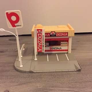 舊款 絕版 TOMY Takara Tomica 場景 情景 停車場 Pizza-la 店舖