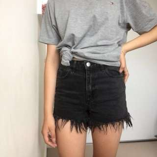 Ripped black denim shorts (Glassons)