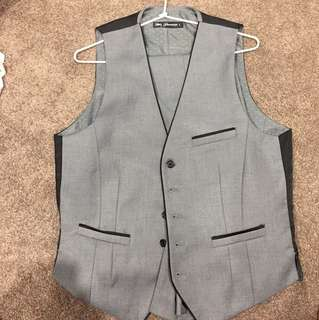 Men's Blaq Grey Suit Best and Pants