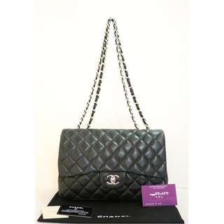 75% New CHANEL A28600 Jumbo 黑色 羊皮 銀鏈 CC Logo 手提袋 肩背袋 手袋 Single Flap Jumbo in Black Lambskin Handbag with Silver Hardware