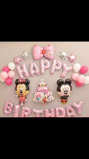 [Instock] BN Mickey and Minnie Mouse Happy Birthday Balloon Set