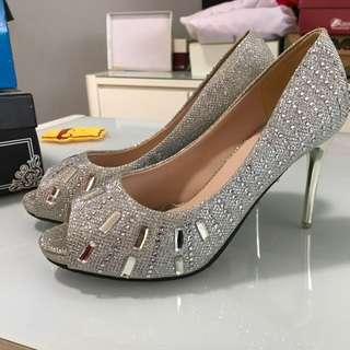 Wedding bling sparkle high heels