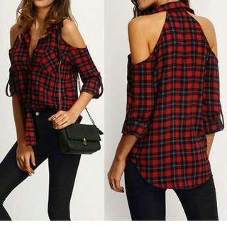 Checked Open Shoulder Blouse
