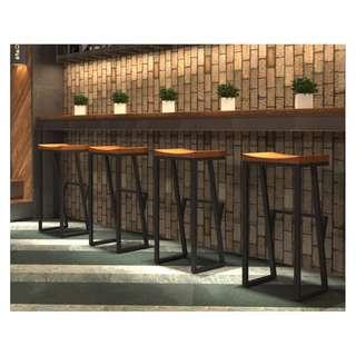 創意高凳椅子實木休閒椅子吧台專用咖啡座鐵藝高級款式01