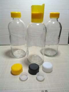 Botol kaca 200ml rekondisi dengqn tutup baru
