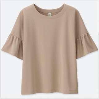 Uniqlo beige frill short sleeve blouse