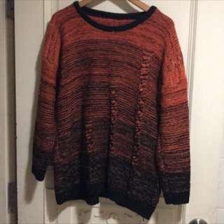 🚚 韓版 黑橘個性毛衣 全新