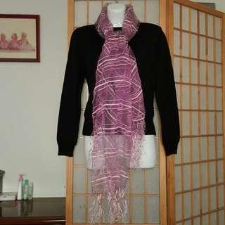 🎄全新 紫色寬面絲質圍巾
