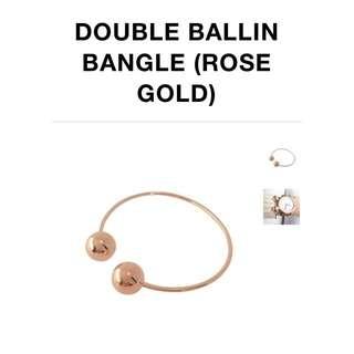 Rose Gold Double Ball Bangle