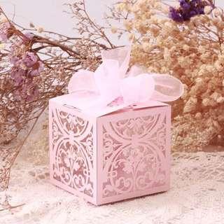 結婚物資宴會禮品用粉紅色回禮糖果盒300個
