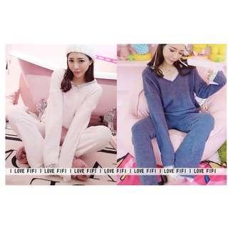 高質感軟綿綿花糖雪花絨甜美法式蕾絲居家服睡衣套裝粉紅藍綠紫色peach john感