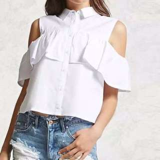 White cut out shoulder ruffle sleeves blouse plus size
