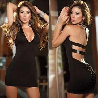 Black Lingerie Halter Neck Dress with Bling