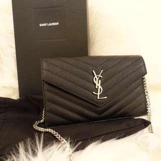 YSL woc 19cm 黑色荔枝牛皮袋 bag