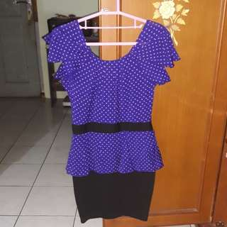polkadot peplum dress