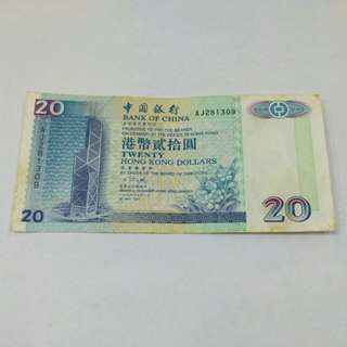 1994 HKD 20 hongkong banknote
