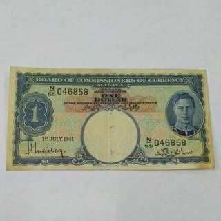 1941 MALAYA BOCOC KING 1dollar