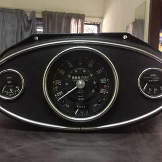 3 Clock Housing Complete Set with 90mph Smiths Odometer, Water temp & Oil Pressure Gauge