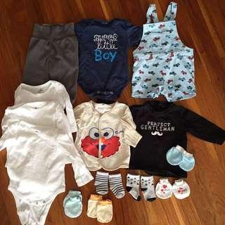 Baby rompers, onesies, pants, shirt, hand mittens, socks