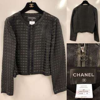 Chanel black checkers jacket size 40