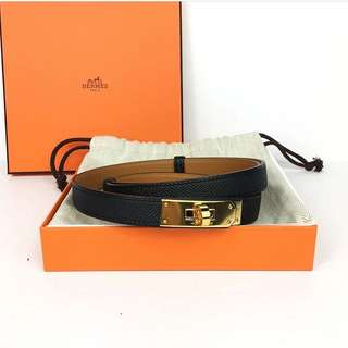 Hermes Kelly Belt in Black Epsom