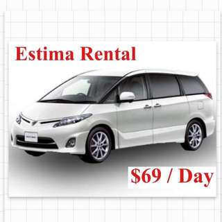 Estima Car Lease Rental 7 / 8 Seater MPV
