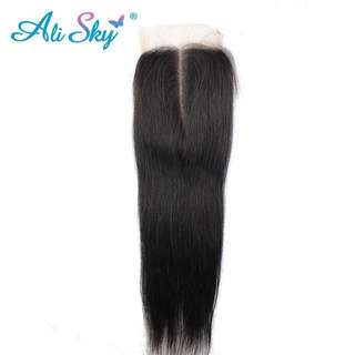 4*4 Middle part straight Brazilian lace closure 100% unprocessed human hair
