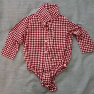 Baby Gap Chequered Red Rompers