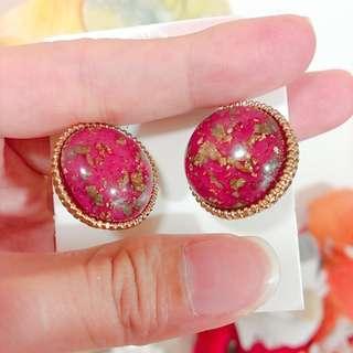 華麗金箔桃紅色圓型貼耳耳環