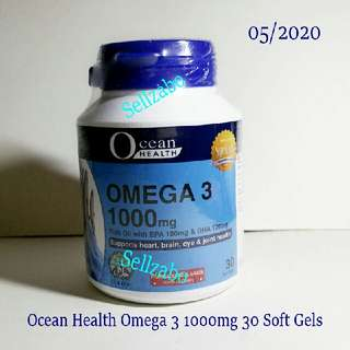 Ocean Health Omega 3 1000mg 30 Soft Gels Sellzabo Support Heart Brain Eyes Joints Supplements Healthy
