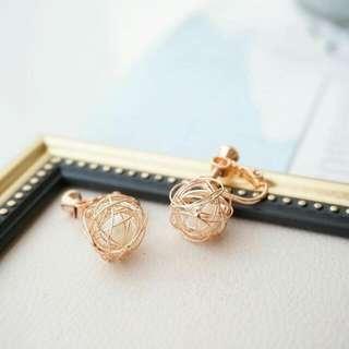 珍珠鳥巢夾式耳環 玫瑰金