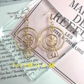 《PoPo飾品》耳環 手作款*金色聖誕組合#可改耳針/耳夾