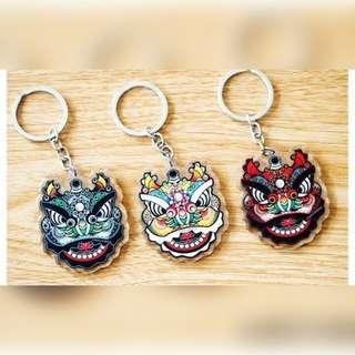 lion dance (刘关张) keychain