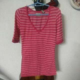 3/4  pink stripes t-shirt