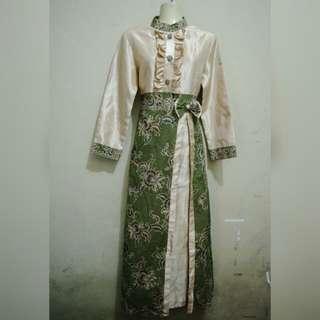 Gold Green Batik Dress #freeongkir