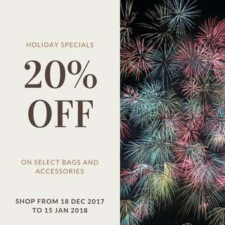 Holiday Sale Alert! 20% on select bags