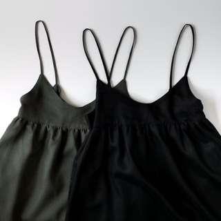 泰國設計師 亞麻 吊帶 背心裙 連身裙 長裙 M 號 黑色