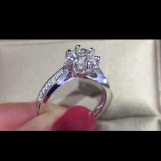 心形爪鑽石戒指 超級顯鑽  GIA主石1.00克拉HVS1副石0.08金重3.6克14#