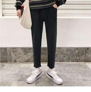 🚚 牛仔褲男士冬季新款修身小腳褲韓版黑色休閒長褲子潮