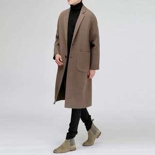 韓系羊絨可可色大衣(女生也可穿!)