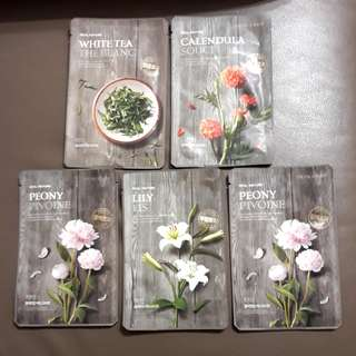 Assorted The Face Shop Real Nature Masks (x5 sheets) - expire July 2018