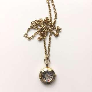 Vintage Gold Quartz Pocket Watch Necklace