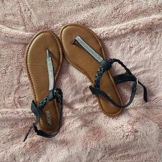 Black Rhinestone Sandals
