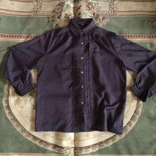 古著長袖條紋襯衫